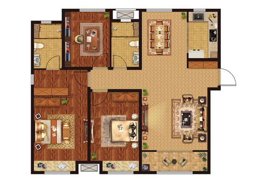 C户型122平米3室2厅2卫1厨