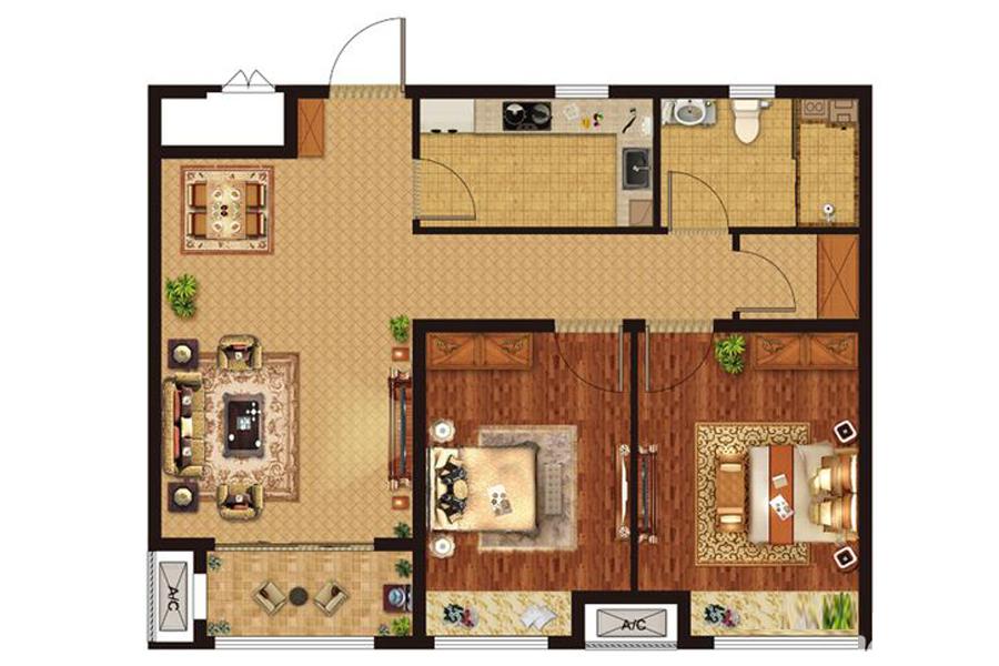 E户型84平米2室2厅1卫1厨