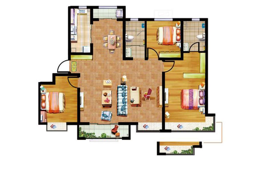 D户型135平米4室2厅2卫1厨