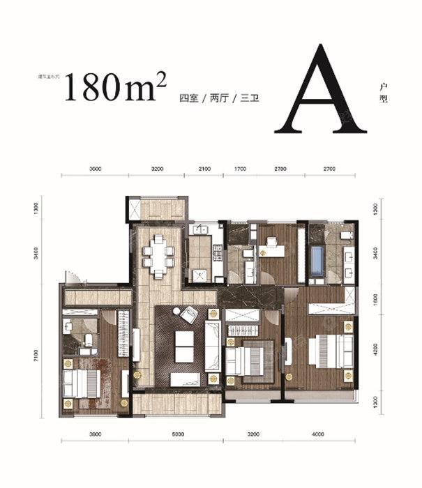 A-4室2厅3卫 180㎡