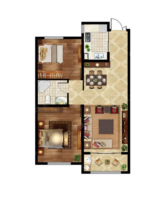 2室2厅1卫 97㎡