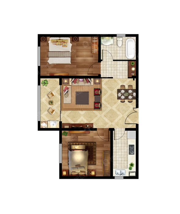 2室2厅1卫-91㎡