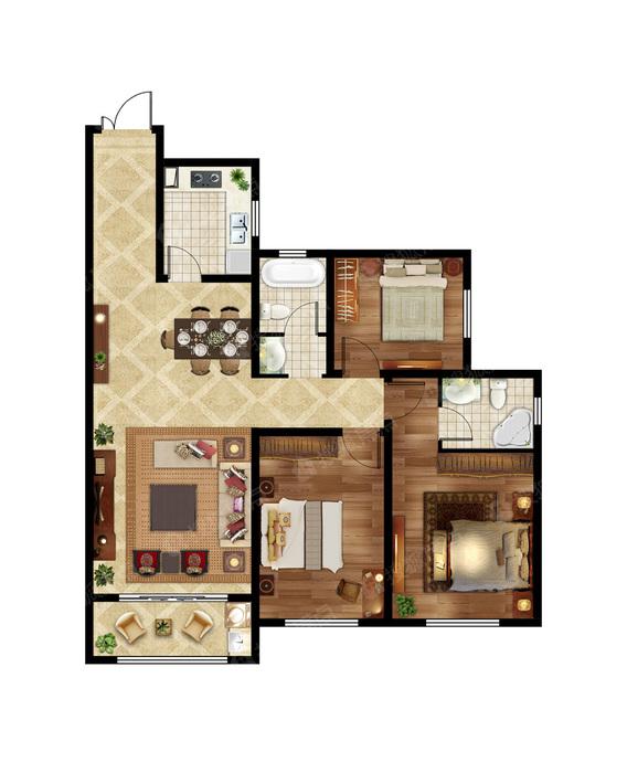 2室2厅2卫 133㎡