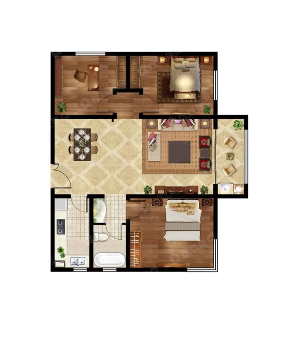 3室2厅1卫 116㎡