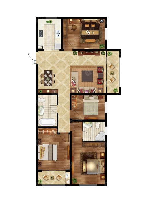 4室2厅2卫 160㎡